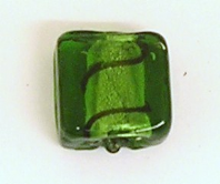 10 SILVER FOIL GLASS 12MM SQUARE BEADS  GREEN